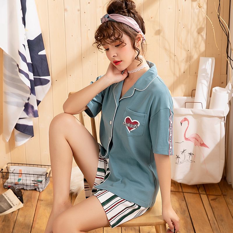 2019 Spring Summer Women Comfortable Cotton   Pajama     Set   Girl Print Pyjama   Set   Short Sleeve Sleepwear Suit Women Nightshirt   Sets