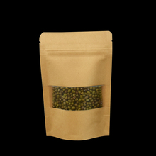 50pcs/lot 9*14cm Brown Zipper Top Stand Up Kraft Paper Package Bags with Matte Clear Window Reusable Doypack Storage Bag