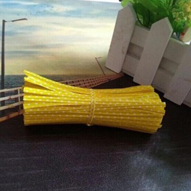 100pcs/lot Colourful Polka Dot Wire Metallic Twist Tie Bakery Lollipop Packing Gift Ribbon DIY Baking tool