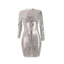 Silver Sparkly Bodycon Dress Long Sleeve Women Sequin Dress Autumn Winter  Elegant Sexy Night Club Celebrity 3ade995a0572