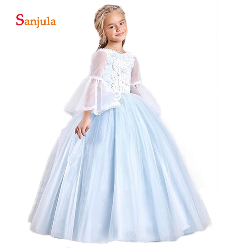 Little Princess Ball Gown   Flower     Girls     Dresses   Flare Sleeve Charming   Girls   Pageant Party   Dresses   Appliques vestido comunion D402