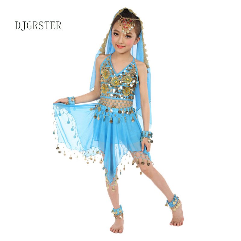 ①djgrster Girls Belly Dance Costume Child Bollywood Dance Costumes