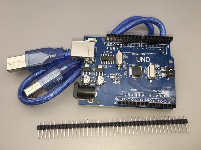 One set New 2016 - UNO R3 ATmega328P/CH340G MicroUSB. Compatible for Arduino UNO Rev 3.0