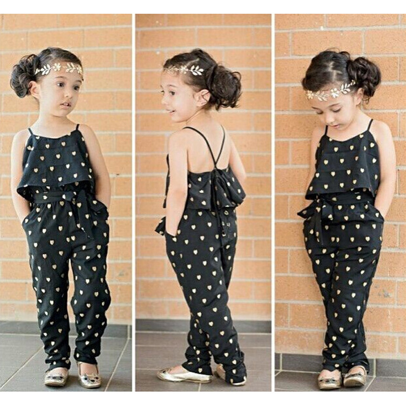 2016 Fashion Kids Baby Girls Strap Cotton Black Overalls dot Romper Jumpsuit Fake two pieces pencil Trousers Summer Clothes Belt