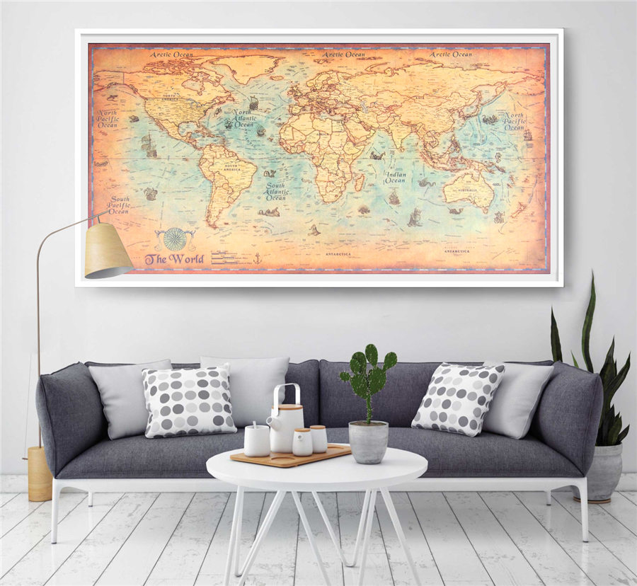 World map vintage wall sticker poster living room art crafts world world map vintage wall sticker poster living room art crafts world maps bar cafe pub paint 100x50cm large size in wall stickers from home garden on gumiabroncs Gallery