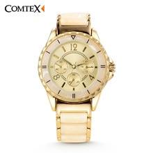 COMTEX Women Watch 2017 Hot Sale New Design Brand Bracelet Style Watches Fashion Luxury Gold Ceramics