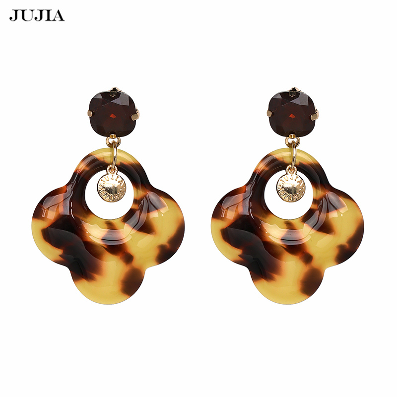 JUJIA New Jewelery Statement Vintage Leopard Crystal Brincos Accessories Oorbellen Big Dangle Drop Earrings