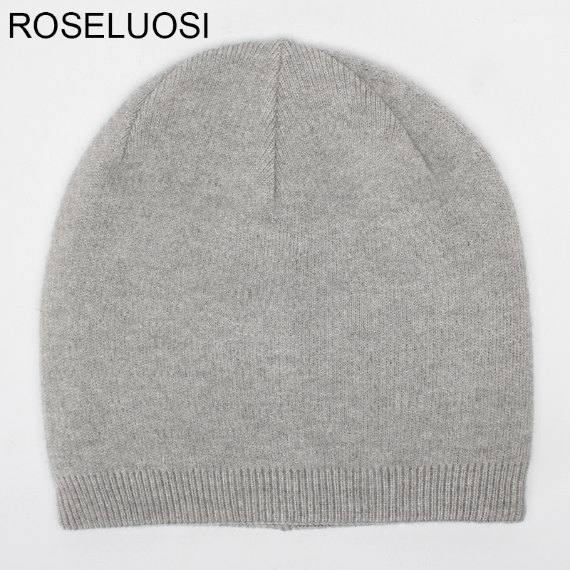 ROSELUOSI Autumn Winter Beanies Hats For Women Men's Solid Color Cashmere Skullies Thick Warm Double Layer Wool Knitted Hat