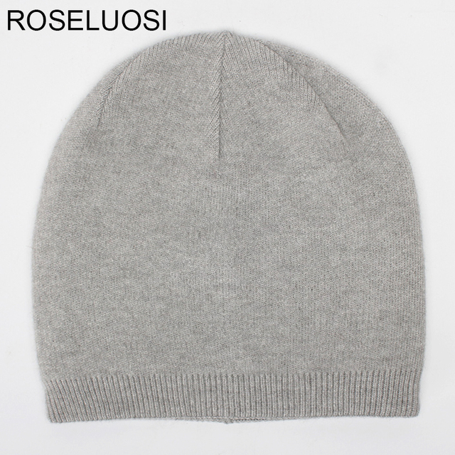 d8a52b32b43 ROSELUOSI Autumn Winter Beanies Hats For Women Men s Solid Color Cashmere  Skullies Thick Warm Double Layer Wool Knitted Hat
