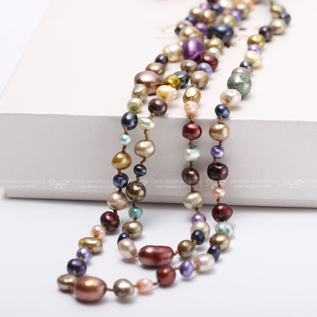 [DAIMI] Multi Color Baroque Pearl Necklace 160cm Long Sweater Chain Natural Pearl Long Necklace Beach Style