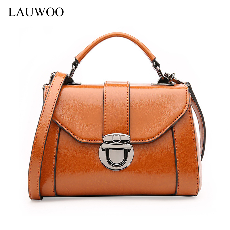 LAUWOO Luxury Latest Women Genuine Leather Handbag Female Leisure Casual Lady Crossbody Shoulder Bag Vintage Messenger Bags Sac lauwoo fashion women luxury brand handbag female crocodile prints genuine leather shoulder bag lady elegant tassels tote bags
