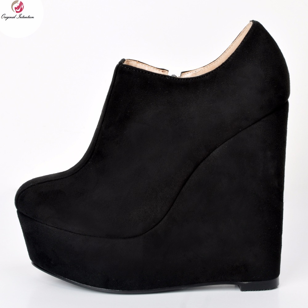 Original Intention New Stylish Women Ankle Boots Sexy Platform Round Toe Wedges Boots Nice Black Shoes