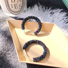 2019 Classic Design Fashion Charm Austrian Crystal Hoop Earrings Geometric Round Shiny Rhinestone Female Earring Jewelry(China)