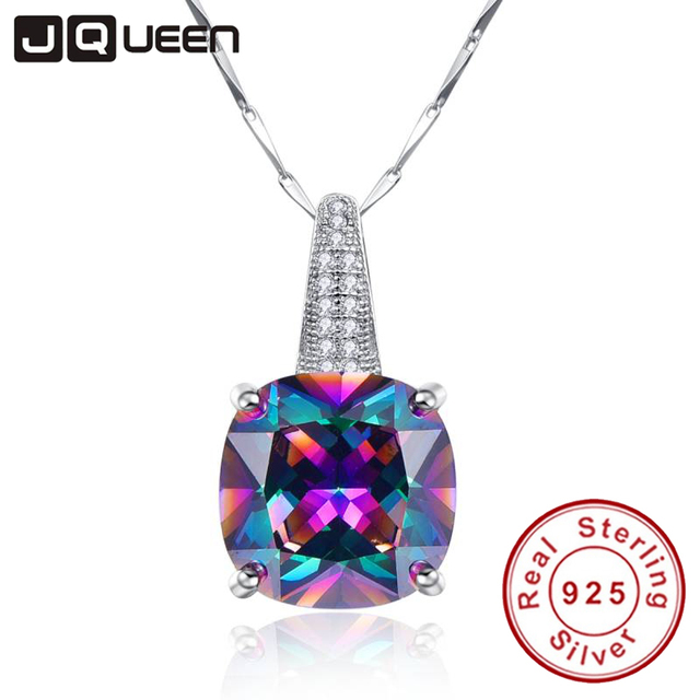 Ladies Fashion Jewelry Rainbow Necklace Topaz 925 Sterling Silver Chain with Sto