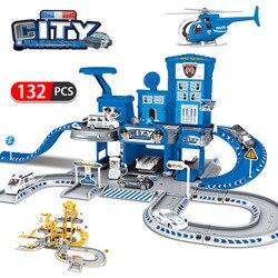 3D городской полицейский участок, железная дорога, сплав, автомобиль, игра, инженерная пожарная машина, трек, автомобиль, сделай сам, модель, с...