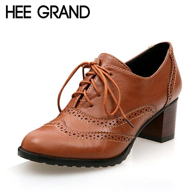 HEE GRAND 2017 Platform Shoes Woman Oxfords Vintage Square Toe Cut-Out Women High Heels Shoes Ladies Size Plus 35-43 XWD2791