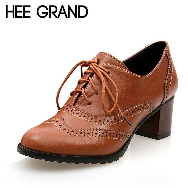 Hee grand 2017 plataforma zapatos de mujer del dedo del pie cuadrado de la vendimia oxfords cut-out mujeres tacones altos zapatos de las señoras tamaño plus 35-43 xwd2791