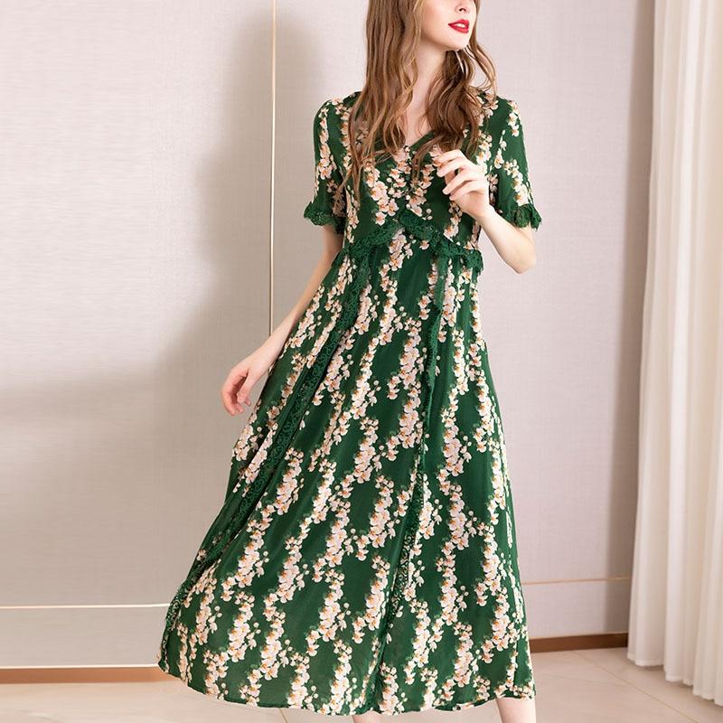Summer Green Print 100% Silk Dress Women V Neck Lace Long Dresses High Waist Fake Two Piece Dress Ladies Elegant Boho sukienka
