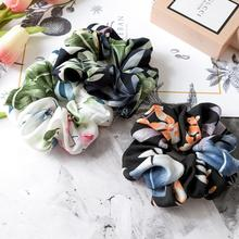 Xugar Hair Accessories New Floral Elastic Ponytail Ropes Long Ornament Scrunchie for Women Girls Tie