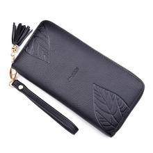 Women Wallet Leather Female Purse Card Holder Coins Purse Wristlet Leaves Design Zipper Long Phone Wallet Clutch Bag Vintage недорго, оригинальная цена