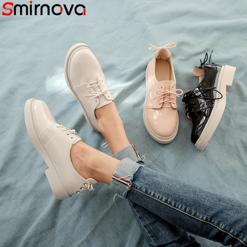 Smirnova Pumps Shoes Low-Heels Big-Size Solid-Colors Women New 34-43 Casual Lace-Up Round-Toe