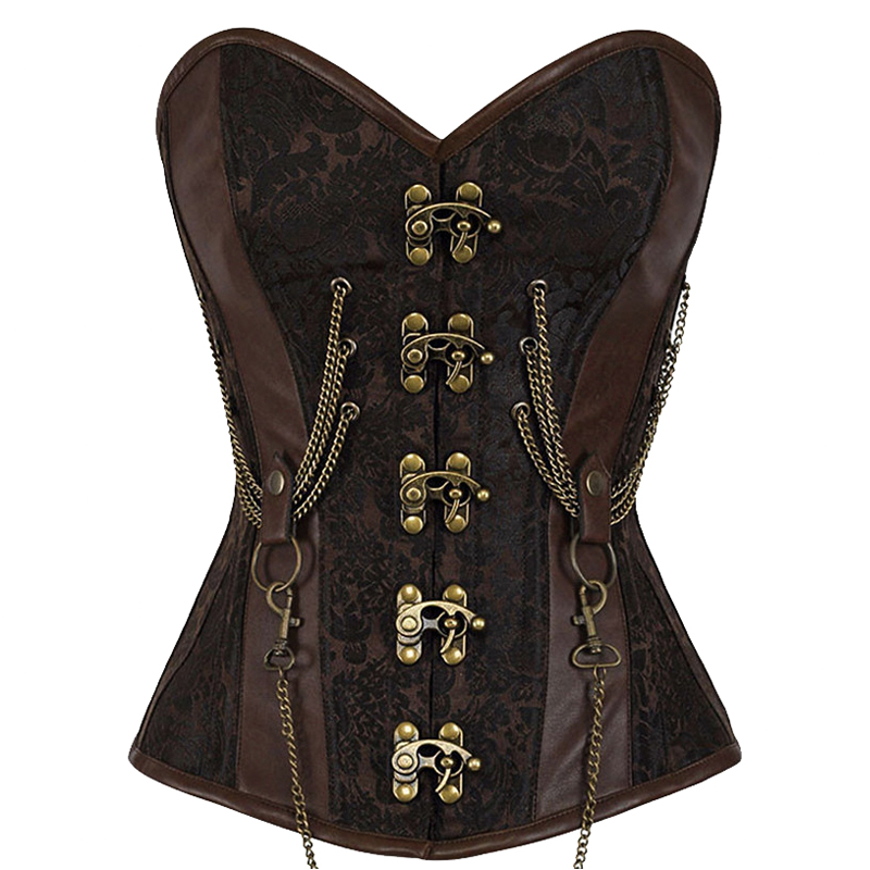 Wechery Women Sexy Vintage 14 Steel Boned   Corset   Punk Brown Printed   Bustier   Steampunk Gothic   Corsets   With Metal Chain for Party