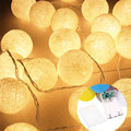 3.3M 20LED Cotton Balls String Lights Holiday Festival Wedding Party Curtain Decoration Fairy Indoor Lighting Room Decor Lights
