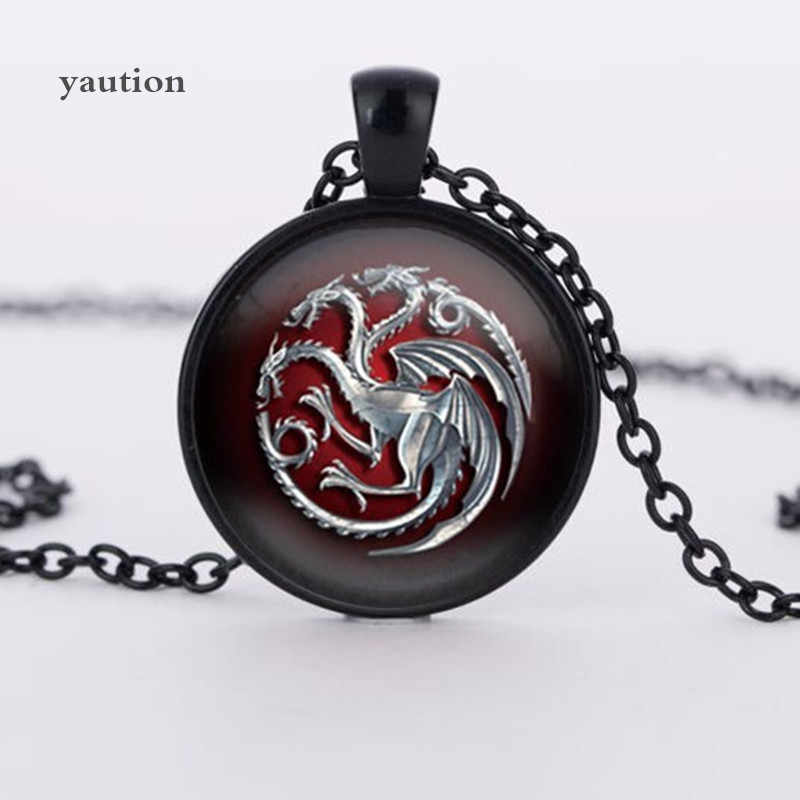 3 colors glass pendant Game of Throne famille Targaryen glass movie choker necklace bijoux summer style Vintage movie jewelry