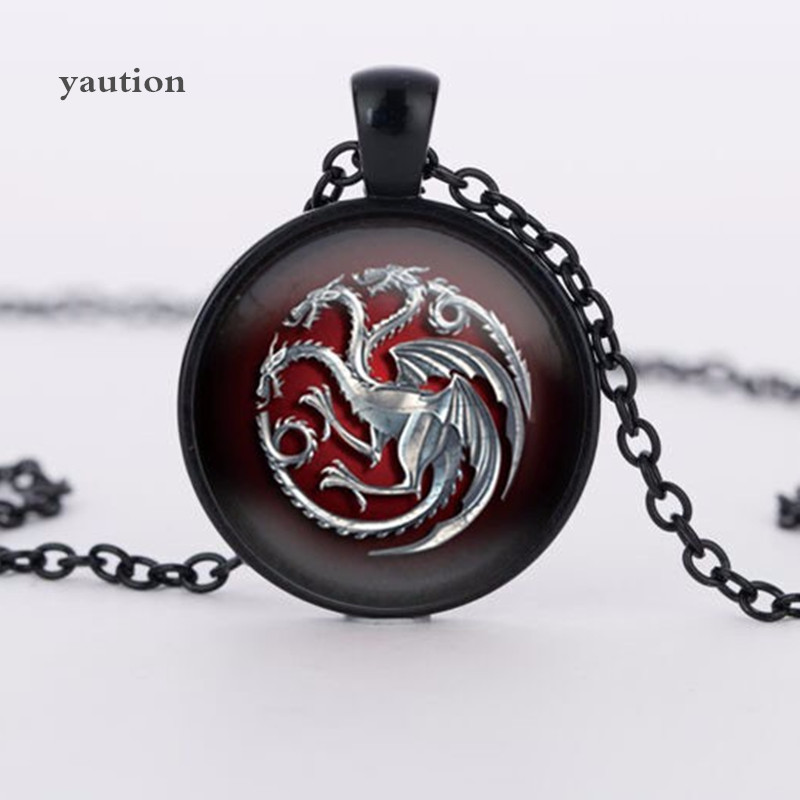 3 colors glass pendant Game of Throne famille Targaryen glass movie choker necklace bijoux summer style Vintage movie jewelry ...