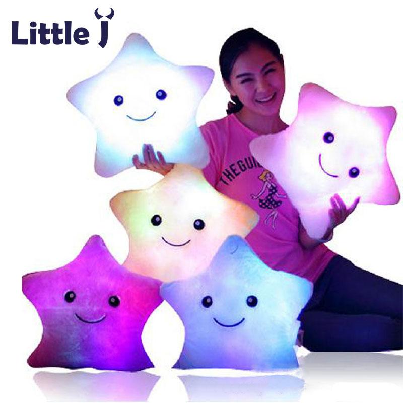 Little J Smiley Luminous Pillow Christmas Toys Led Light Pillow Plush Pillows Colorful Stars Kids Toys Children Birthday Gift