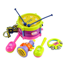 New 5pcs Roll Drum Musical Instruments Band Kit Kids Children Toy Gift Set