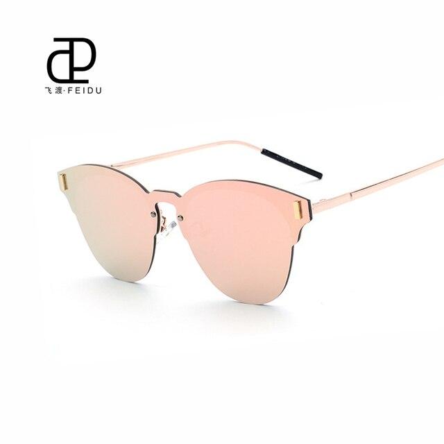 44bdcb46a2e FEIDU Cat Eye High Quality Sunglasses Women Brand Designer Coating Mirror Sun  Glasses For Men Eyewear