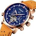 KINYUED Skeleton Tourbillon Automatische Mechanische Horloges Mannen Luxe Gouden Mannelijke Sport Waterdicht Horloge Relogio Masculino