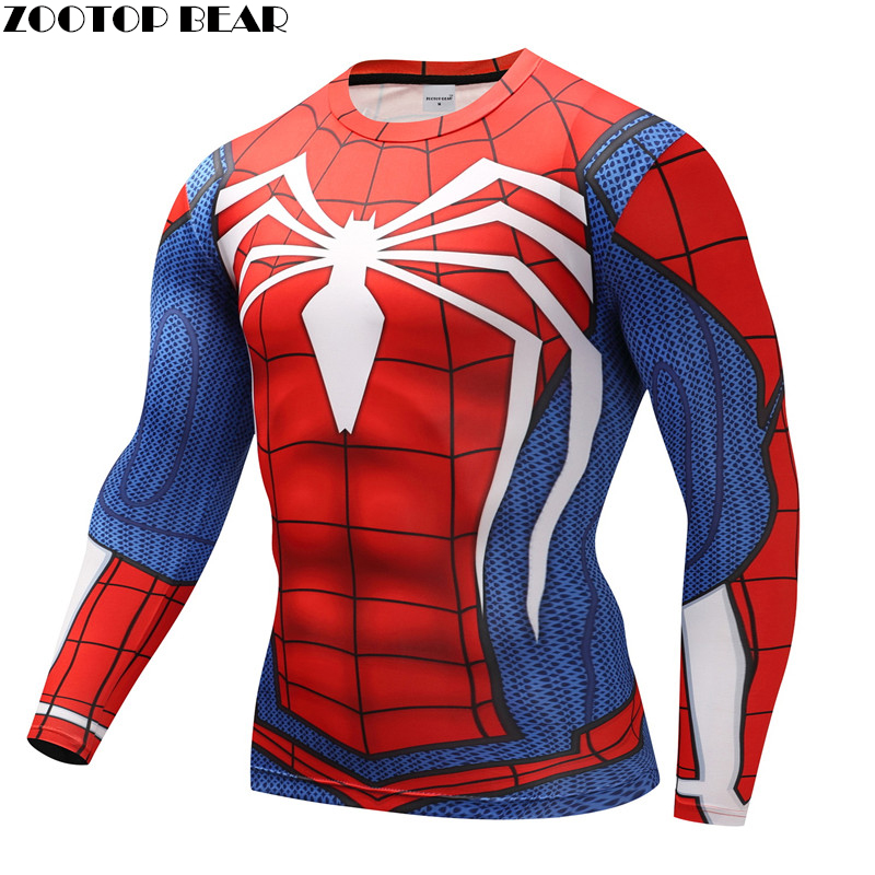 Spiderman   T     shirts   Men Compression   T  -  shirts   Fitness Spider Man   T  -  shirts   Bodybuilding Top Hot Sale Crossfit rashguard Brand