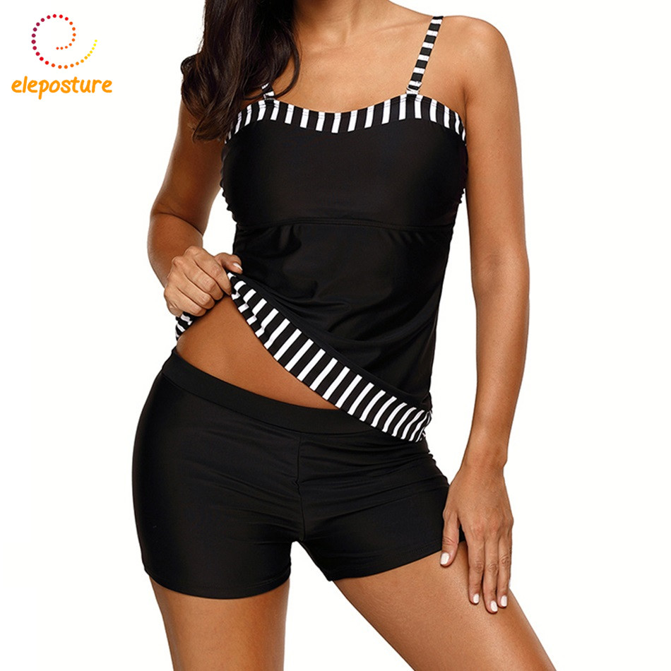 Vintage Tankini Swimsuits Women Brazilian Swimsuit 2017 Plus Size Swimwear Black Bathing Suits Beachwear Maillot De Bain Femme