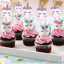 FENGRISE Unicorn Cake Topper Wedding Party Decorating Supplies Birthday Decorations Kids Favors Anniversary