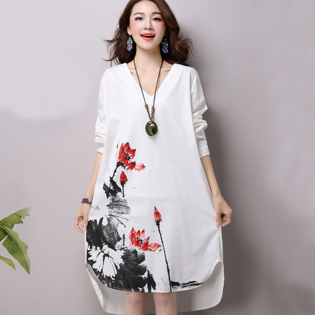 071daec075d58 US $18.0 |Women Vintage Linen Dress Spring Autumn Maternity Dress Floral  Print Long Sleeve V neck White Blue Tunic Tops 2016-in Dresses from Women's  ...