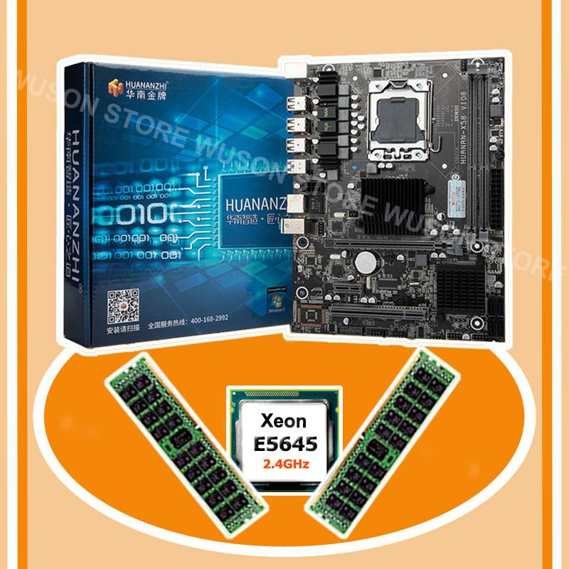 On Sale Brand HUANAN ZHI X58 Pro LGA1366 Motherboard Bundle Discount Motherboard With CPU Intel Xeon E5645 2.4GHz RAM 16G(2*8G)