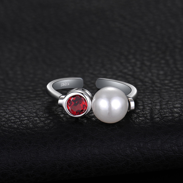 JewelryPalace Art Deco Genuine Bazel Set Red Garnet 8mm Round Shape Shell Pearl Adjustable Open Ring 925 Sterling Silver Jewelry
