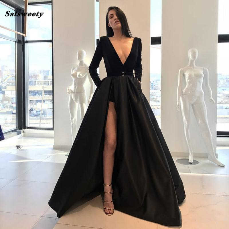 Sexy V-neckline Black Bridesmaid Dress A Line Long Sleeves High Side Split Floor Length Prom Gowns Satin Formal Pageant Dress