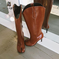 Prova Perfetto sexy split toe knee high boots women genuine leather military boots high heels long motorcycle boots mujer zapato