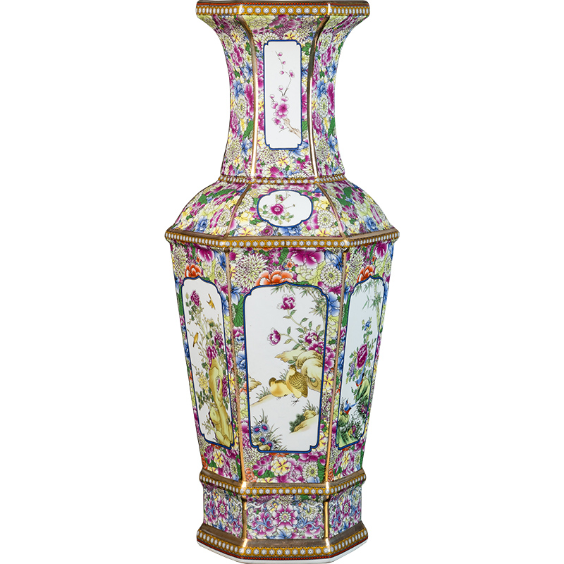 Traditional Chinese Antique Enamel Flowers Hexagonal