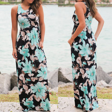 Fashion Womens Sleeveless Floral Print Maxi Dress With Pockets Beach Long Dress chic floral imprint sleeveless womens maxi dress