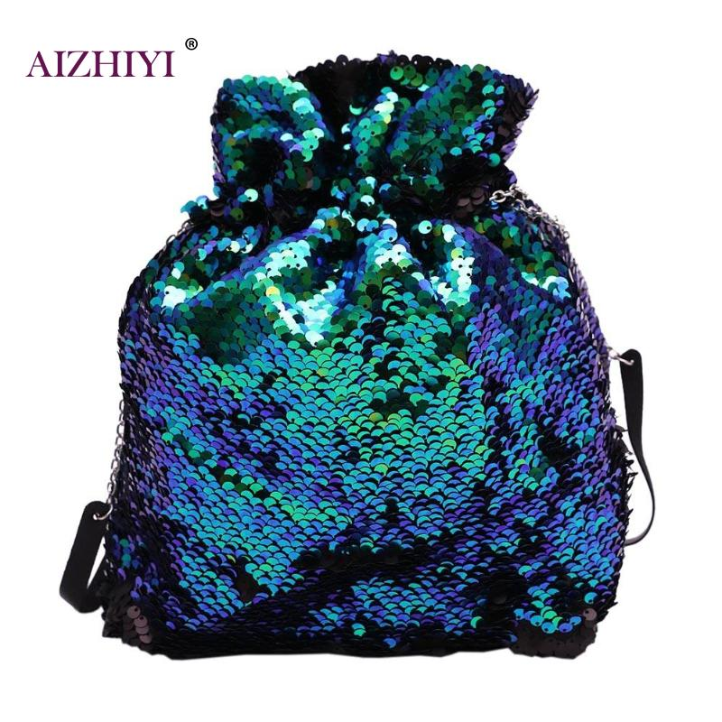 Women Fashion Gradient Sequin Shoulder Messenger Bag Crossbody Tote Drawstring Bag Portable Mini Street Casual Drawstring Bags
