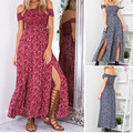 Sexy Strapless Beach Summer Dress Sundresses Vintage Tunika Maxi Dress Boho Floral Women Split Long Dresses GPD8129