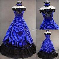 Темно Синий рюшами бантом Лолита костюмы взрослых средневековой платье Ренессанс Сисси принцессы бальный наряд викторианской Belle мяч