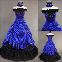 navy blue ruffle bowknot lolita costumes adults Medieval dress Renaissance gown Sissi princess ball gown Victorian Belle Ball