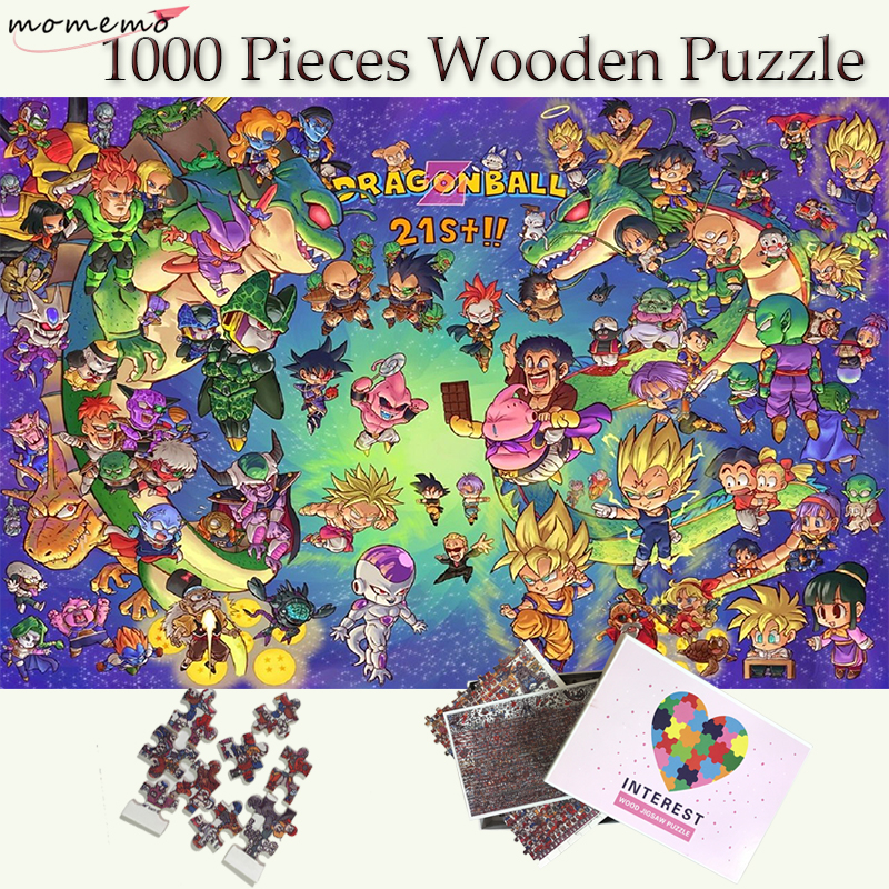 MOMEMO Kawayi Dragon Ball Puzzle Jigsaw 1000 Pieces Wooden Puzzles for Adults Puzzle Games Toys Cartoon
