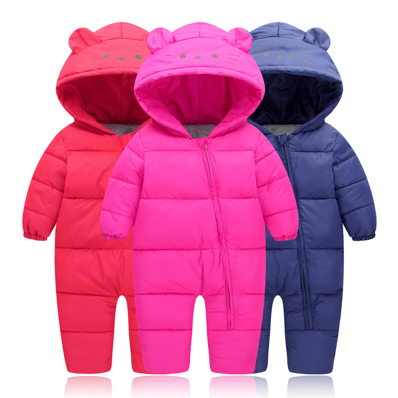 29KEIZ 1 3 Year Infant Children Winter Cotton Down Romper Solid Color Full Sleeve Outerwear Hooded