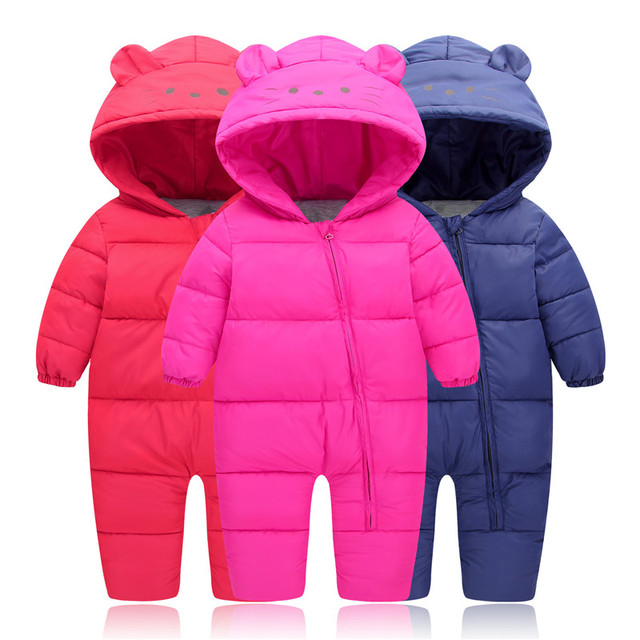 29KEIZ 1-3 Year Infant Winter Romper Down Cotton Solid Color Bear Pattern Full Sleeve Hooded Boys Girls Baby Outerwear & Coats